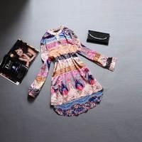 2014 Autumn Winter Women Dresses Leisure Fashion Print  Loose Silk Cotton Dress