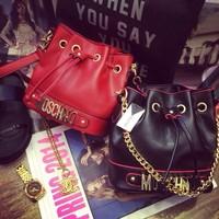 2014 women's mcdonald 's chains bucket shoulder bags metal letters lady casual tote handbags mos messenger bags