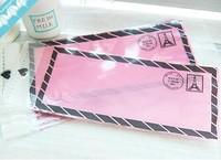 100pcs/lot Pink messenger biscuit bag Plastic cookie packaging bags,7x16cm cake bag,Self adhesive bafs free shipping