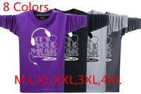 2014 Autumn New Men's O-Neck Long Sleeve T Shirts Male Fashion Headset Printed T-Shirts Cotton Loose Plus Size Tees For Men 588