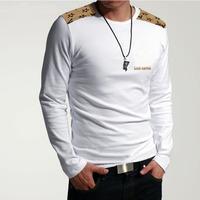 Free shipping 2014 fashion long-sleeved shirt is 100% cotton men's T-shirt