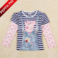 2015 autumn/spring nova kids girl peppa pig t shirt for baby girls tunic top embroidery long sleeve T-shirt for baby girls