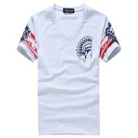 2014 summer new men's v-neck short-sleeved T shirt personalized trade cotton men's short t shirt factory outlets