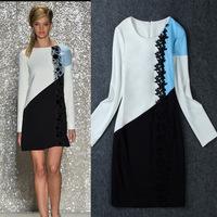 2014 Women Winter Autumn Dresses Cotton Asymmetric Contrast Color Full Sleeve Splicing Mosaic Lace Short Dress