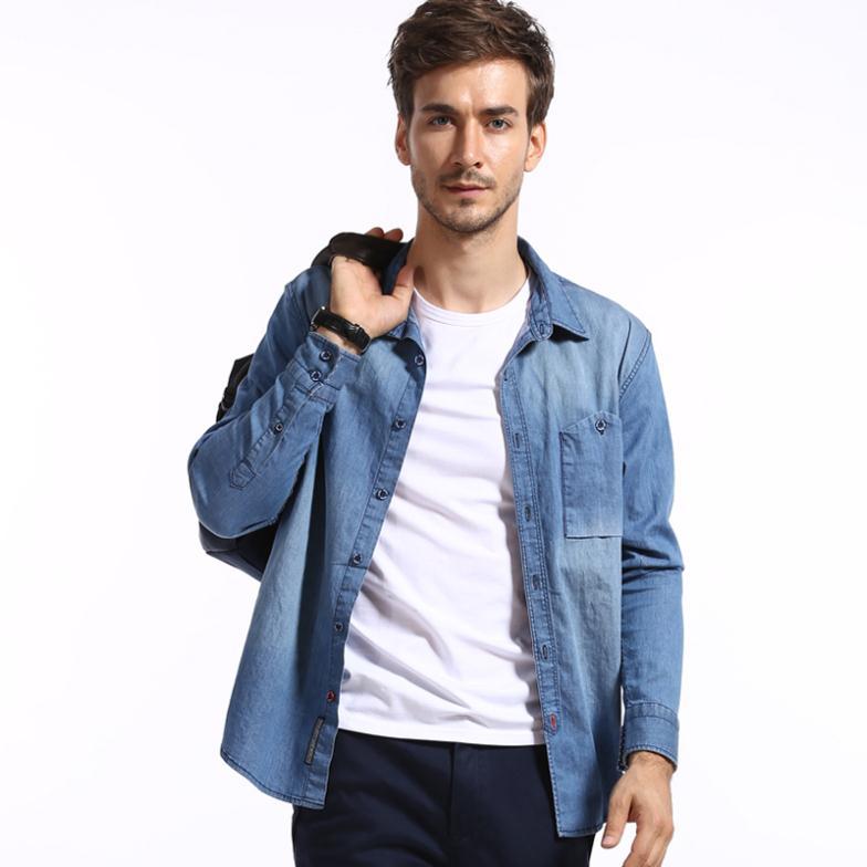 marca fashion designer homens camisa jeans casual homens slim fit vestuário outono& primavera camisas manga longa frete grátis(China (Mainland))