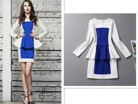 2014 Autumn  Winter  Women Dresses Contrast Color White Blue Red Cotton Short  Elegant Dress