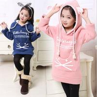 2014 new autumn and winter girls hoodies girls sweatshirts Kids Hoodies Girl's kitty Sweatshirts Long Sleeve Girl's Coat