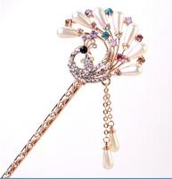 Fashion  crystal women hair sticks peacock hair clasp E1605