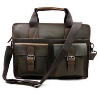 New Vintage Casual Genuine Cowhide Crazy Horse Leather Men Business Handbag Messenger Shoulder Bag Briefcase Bags For Men 6132