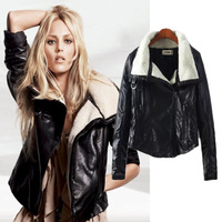 Winter Women Locomotive Leather Coat Fashion Jacket Thickening Warm Short Style Lambs Wool Jackets for Women New 2015 A145