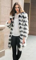 SUPER QUALITY 2014 New Fashion Women Hairy Shaggy Faux Fox Fur O Neck Contrast Gradual Color Striped Jackets Long Coat Outerwear