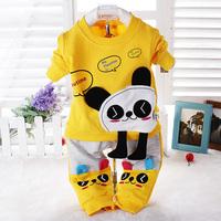 Retail 2 Pcs Baby Girls Clothing Sets New 2014 Spring Cartoon Coat +Long Sleeve Set Children Clothing Set  Long Johns 0-2T