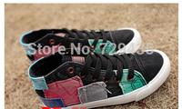 2014 colorant match high lacing flat bottom canvas shoes denim shoes women's vintage shoes