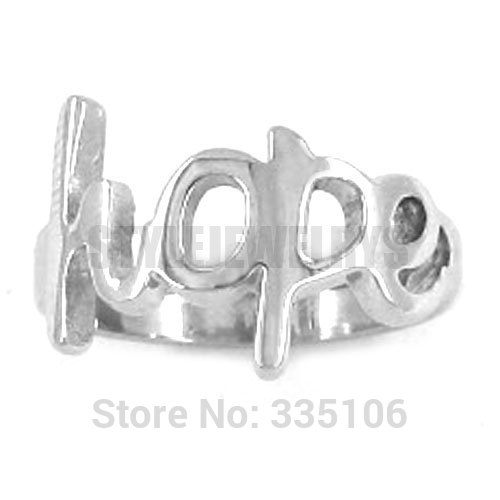 Free shipping! Hope Ring Letters Ring Stainless Steel Jewelry Fashion Women Motor Biker Ring SWR0238A(China (Mainland))