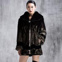 Winter Warm Striped Luxury Overcoats Ladies Elegant Mink Fur Outerwear Polish Jacket Women's Fur Coat A156 New Fashion Plus Size