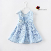New Children Clothing Girls Summer Lace V Back Sleeveless Lovely Cotton Dress Children Dress