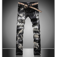 Men's print jeans 2014 new arrival wolf printed pattern flower pants fashion painted slim long trousers Free shipping