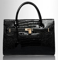 Classic Style Women's Handbag Tote Bag Crocodile Texture PU Leather Messenger Bags With Lock For Lady OL Cross Body 6 Colors