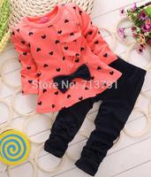 2014 hot sale long sleeve children clothing sets girls heart coats+pants Children's sport suit sets 2 colors
