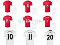 Customize! 14/15 season carrick jersey top quality soccer uniforms (Jersey + shorts) Size S-M-L-XL