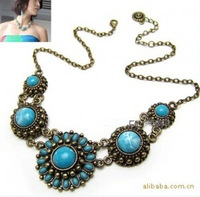 Bohemia natioX297 statement necklace trend fashion noble blue turquoise circle flower gem necklace fashion necklaces for women