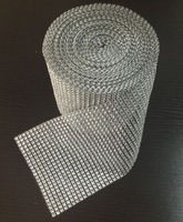 Sew On 24Rows good quality rhinestone Mesh Trim 4mm Silver 10yards/roll Plastic based trimming free shipping