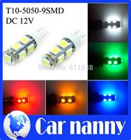 2PCS car light source T10 clearance lights 5050SMD Licebse plate lights 9LED High Power 5W marker Lamps 12V T10 led car
