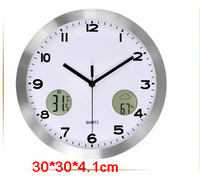 M43 Europe modern design 12inch clocks with LCD display for Temperature/Humidity/The weather Multi functional wall clock