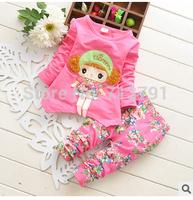 Retail 2014 hot sale long sleeve Spring Flower Cartoon Coat +Long Sleeve Set Children Clothing Set