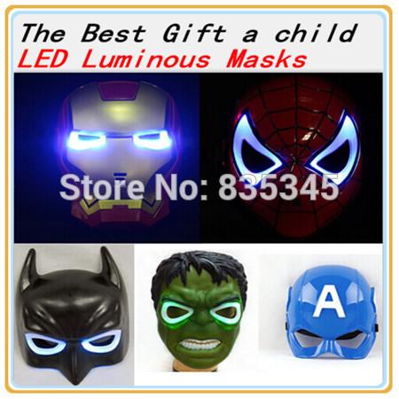 5Pcs / lot Spiderman Captain America Hulk Iron Man Toys Batman mask Luminous Halloween Christmas Role Play Props Free Shipping(China (Mainland))