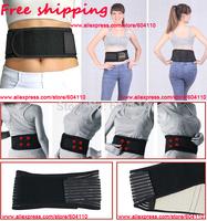 Free shipping (5pcs/lot) Tourmaline Adjustable Self-heating Lower Pain Magnetic Therapy Back Waist Support Lumbar Brace Belt