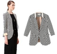 2014 new  fashion women's V Autumn long sleeved plaid  single breasted Slim Blazer jacket designer brand top H