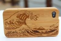 Waves Design 1pcs Bamboo Wood Hard Back Case Cover Protector for iPhone 4 wholesale Dropshipping