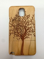 """""""Genuine Wood / Bamboo Handcraft Carved Tree/Camera Hard Cover Case for Samsung Galxy Note 3 III"""
