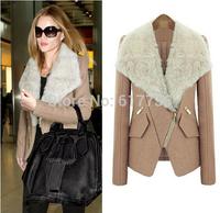 High quality 2014 Autumn & Winter Europe and America women new Slim woolen coat fur collar cashmere coat S - XXL