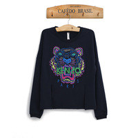 European style 2014 spring and summer women's new Korean version of the tiger head embroidery loose hedging round neck long-slee