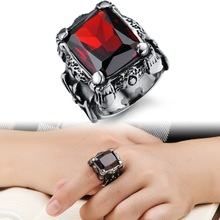 2015 NEW WHOLESALE Europe Exaggerated Personalized Party Jewelry Top Quality Ruby stainless steel Men Women Rings