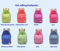 New Fashion Candy-colored dots canvas backpack shoulder bag Casual schoolbags Children Outdoor Sports schoolbag  free shipping