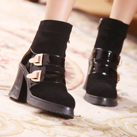 The European 2014  Autumn Winter Boots Women Shoes Ankle Boots Heels Platform Motorcycle Boots Genuine Leather Girl Shoes