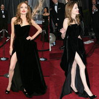 Angelina Jolie Red Carpet Dress Sexy Black Celebrity Gown Side Split Party Dress 2014