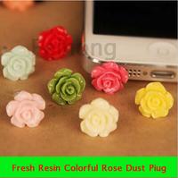 10pcs/lot Quality Cheap Fresh Resin Colorful Rose Eco 3.5 mm Cell Phone Dust Plug Earphone Jack Plug
