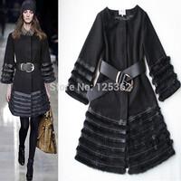 2015 Latest Runway Fashion Brand Women's Winter Coat Thick Woolen Coat with rabbit fur trim black