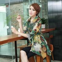 R169 XL-5XL Plus Size 2014 New Summer Fashion Sexy Korean Style Chiffon Floral Embroidery Half Sleeve Women blusas femininas