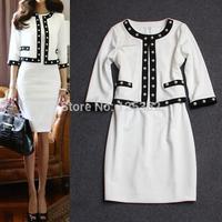 Free Shipping!Designer brand vestidos classic white pearl beading slim fit career dresses women