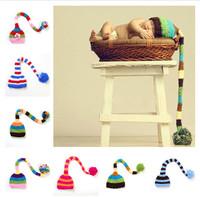 0-2 Years Old Baby Crochet Cap Beanies Newborn Baby Striped Cap Photography Props Children Long Tail Skullies Winter Hat