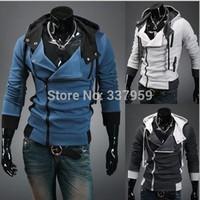 New Winter Asymmetric Zip-up Mens Hoodie Sweatshirt Fashion Man Casual Hooded Outerwear Coat Slim Fit Jacket 3 Colors M L XL XXL