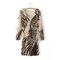 4 style! 2014 New Fashion women winter fashion sexy V-neck leopard mohair mini dress Lady casual slim party club dresses #J300