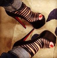 wholesale designer Women's Pumps Black lambskin leather cage platform High Heels shoes pumps boots genuine leather