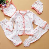 0-3 month baby Newborn cotton underwear sets ( 1 lot=coat+pants+bib+hat+pants) 100% cotton baby clothing baby romper