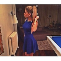 Free shipping Women diamonds collar dress sleeveless  sexy blue club party dress